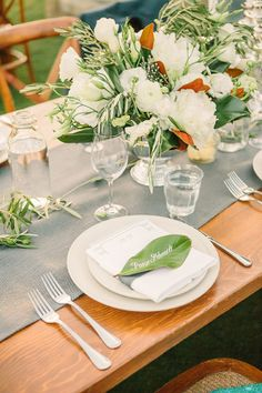 magnolia leaf place cards by julie song ink wedding planning, styling + florals by lovely little details