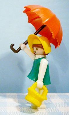 Playmobil Lady with orange umbrella