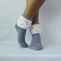 Gray socks. Woman socks. Knit socks. Wool rustic socks. Hand knit socks. Birthday! Valentine's day! Gift Ideas.
