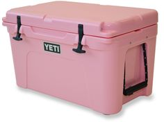 Built to handle the abuse of outdoor adventures while keeping your food and drinks icy cold, the super-rugged YETI Tundra 45 Cooler provides liters of cold storage for your camp. Available at REI, Satisfaction Guaranteed. Pink Yeti Cooler, Yeti Tundra 45, Cooler Box, May Designs, Construction Design, Cool Stuff, Storage, Coolers, Material Things