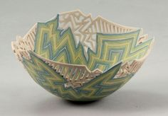 Dorothy Feibleman | A small Bowl, circa 1981. Porcelain, laminated clays in blue, green, yellow and white, combined into zigzag bands of alternating colours and panels of white glaze with cut patterning