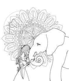 elephant coloring page by ellentopitzerart on etsy