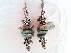 Silver Turquoise Earrings by SoulfulLeeYours on Etsy, $10.00