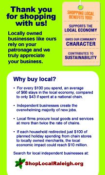 More reasons why to Shop Local Raleigh
