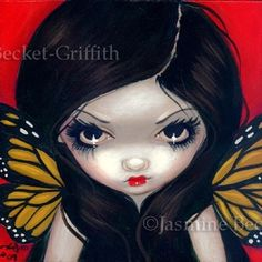 Fairy Face 10 Jasmine Becket-Griffith Fantasy Lowbrow Butterfly SIGNED 6x6 PRINT