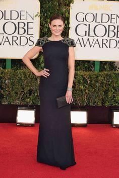 Emily Deschanel in Badgley Mischka, Golden Globes 2013