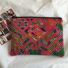 Ketzalia green and pink print handmade clutch A standout piece and a handmade one of a kind! Promotes fair trade and sustainable fashion! Great clutch or make up bag. NWT retail. 5.5 inches tall by 7.5 inches wide. Ketzali Bags Clutches & Wristlets