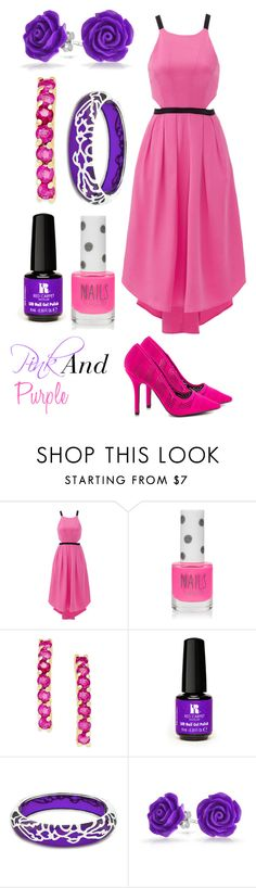 """""""Pink and Purple"""" by annie52704 ❤ liked on Polyvore featuring Hunter Bell, Topshop, Red Carpet Manicure, Andrew Hamilton Crawford, Bling Jewelry and Qupid"""