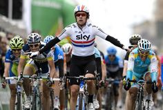 Bradley Wiggins (or Brently as he's known by some) celebrates his stage 2 victory at the Tour de Romandie.