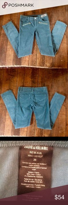 """Low waist skinny stretch cord pants Zadig & Voltaire low waist stretch skinny cords. 08% cotton. 2% elastase. Inseam 32"""". Rise 6"""". Waist 29"""". Hips 33"""". Size euro 36 Zadig & Voltaire Pants Skinny"""