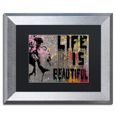 Banksy 'Life is Beautiful' Black Matte, Framed Canvas Wall Art