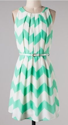Belted Mint Chevron Dress