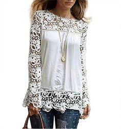 Amazon.com: PHOTNO Fashion lace chiffon blouse long sleeve shirt women loose cotton tops t shirts S-XXXXXL: Clothing