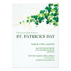 "Invite guests in style with this St. Patrick's Day Irish shamrock party invitation. ""May your blessings outnumber, the shamrocks that grow, and may trouble avoid you wherever you go. Dinner Party Invitations, Event Invitations, Green Beer, St Patrick's Day Gifts, Irish Blessing, Zazzle Invitations, Invitation Ideas, Invite, St Patricks Day"