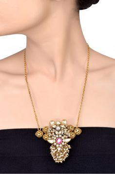 Silver Gold Plated Crystal Pearl Cluster Floral Jaali Bead Necklace