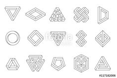 """Download the royalty-free vector """"Set of impossible shapes. Web design elements. Line design, un-expanded strokes. Vector illustration EPS 10"""" designed by kovalto1 at the lowest price on Fotolia.com. Browse our cheap image bank online to find the perfect stock vector for your marketing projects!"""