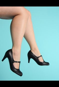 Low Heel T-Strap Pump with Purple Accents