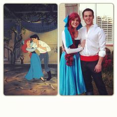 easy carnaval couple costume besides wig! I've always wanted to be ariel in her blue dress!