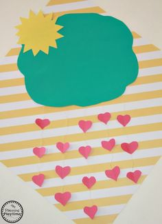 It's Raining Hearts Valentine's Day Craft for Kids - Planning Playtime Valentine's Day Crafts For Kids, Diy Gifts For Kids, Projects For Kids, Diy For Kids, Diy Kids Teepee, Backyard For Kids, It's Raining, Valentine Day Crafts, Kids Christmas