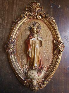 Etsy のSagrado Corazón de Jesús Vintage Religious Art Relief Sacred Heart Catalonia /17(ショップ名:GliciniaANTIC)