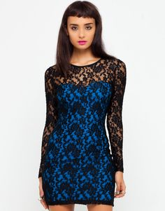 Buy Motel Jude Lace Dress in Turquoise and Black Lace at Motel Rocks