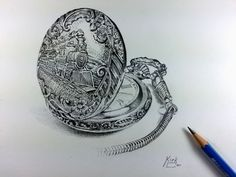 Pencil drawing of a pocket watch