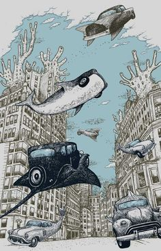 A really cool art work that potraits surrealism and undersea city in the late 1980's