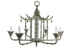 Patinated Solid Brass Pagoda Chandelier