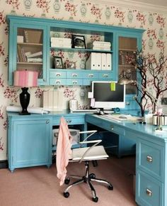 tiffany blue office. 14 Feminine Home Office Design Ideas - \u003c3 The Tiffany Blue Desk \u0026 Credenza! Tiffany Blue Office G