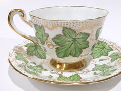Hand Painted Royal Chelsea Tea Cup and Saucer, Tea Set, Antique Teacups, Antique Tea Cups, Green Ivy Cups, English Bone China Cups