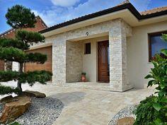 Porch Canopy, Small House Design, Facade Design, Home Design Plans, Facade House, Design Case, Travertine, Decoration, Sweet Home