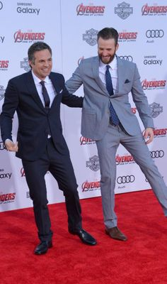 """Mark Ruffalo , left, and Chris Evans - """"Avengers: Age of Ultron"""" Premiere held in Los Angeles"""