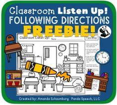 Classroom Listen Up! Following Directions FREEBIE