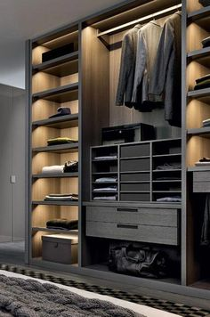 meuble dressing, mobilier contemporain, tiroirs, étagères et penderie style minimaliste Wardrobe Design Bedroom, Bedroom Bed Design, Master Bedroom Closet, Bedroom Wardrobe, Wardrobe Closet, Master Bathroom, Bedroom Cupboard Designs, Bedroom Cupboards, Walk In Closet Design