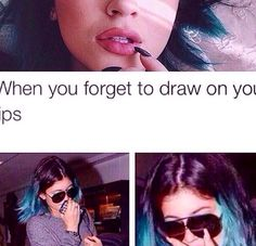 When you forget to draw on your lips Lmaoo