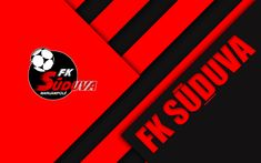 Download wallpapers FK Suduva, 4k, logo, Lithuanian football club, red black abstraction, material design, A Lyga, Marijampole, Lithuania, football