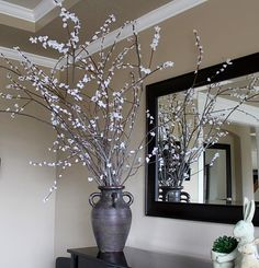 Fun entry piece - branches with silk flowers glued on!