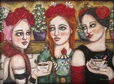 I love this painting of three ladies enjoying a cup of tea.