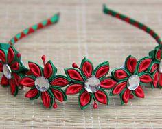 Red and Green Christmas Colours Kanzashi Flower headband Handmade Custom orders Fabric Wedding flowers Headbands Brides Maids
