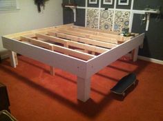 "DIY easy king-size platform bed with 17"" of storage space underneath"