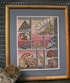 Seashell Embroidery Needlecraft Needlepoint by FunkAndMoreVintage, $78.00