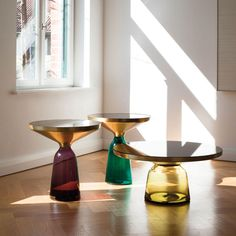 The Bell Table by German product designer Sebastian Herkner is a furniture piece that fuses aesthetics with function. Decorative and delicately designed, this table is a compact and colorful option for any design-savvy home. Table Furniture, Home Furniture, Modern Furniture, Furniture Design, Luxury Furniture, Glass Furniture, Living Furniture, Glass Side Tables, Small Tables
