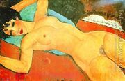 Sleeping Nude With Arms Open Red Nude  by Amedeo Modigliani