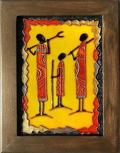 Glass Painting Designs, Paint Designs, African Paintings, African Art, 3d Painting, Pottery Painting, Mirror Art, Mural Art, Tribal Art