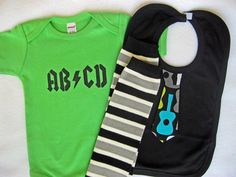 3-piece Rockin' Baby Set - ABCD Onesie, Guitar Bib and Leg Warmers - First Birthday or Baby Shower Gift (Pick Your Size) baby boy clothing. $34.00, via Etsy.