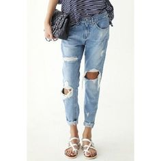 Street Style Broken Hole Ninth-Length Slimming Jeans For Women (57 BAM) ❤ liked on Polyvore featuring jeans, slim jeans, white slim fit jeans, slim cut jeans, slim leg jeans and slim fit jeans