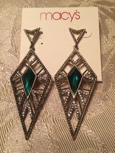 Macy's Earrings Art Deco Style Green Stone | eBay