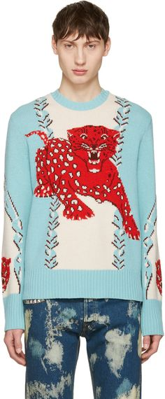 Gucci Leopard Intarsia Wool Crewneck Sweater In Leopard, Light Blue, White Animal Sweater, Leopard Sweater, Gucci Men, Autumn Winter Fashion, Winter Style, Gucci Outfits, Gucci Fashion, Christmas Sweaters, Winter