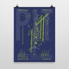 This striking blueprint-inspired poster featuring Pittsburgh PIT's official FAA airport diagram will make for a bold addition to any room. Each museum-quality poster is made on thick, durable, matte p