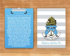 ADPi Alpha Delta Pi Striped Creed Crest Sorority Clipboard on Etsy, $29.50 OMG NEED THIS